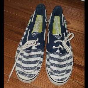Keds Blue White Stripe Boat Shoes 8